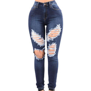 Feitong Women Casual Denim Pencil Pants Ripped Skiny Jeans Women Sexy Ladies Long Pants Mid Waist Jeans Slim Hole Pencil Pants