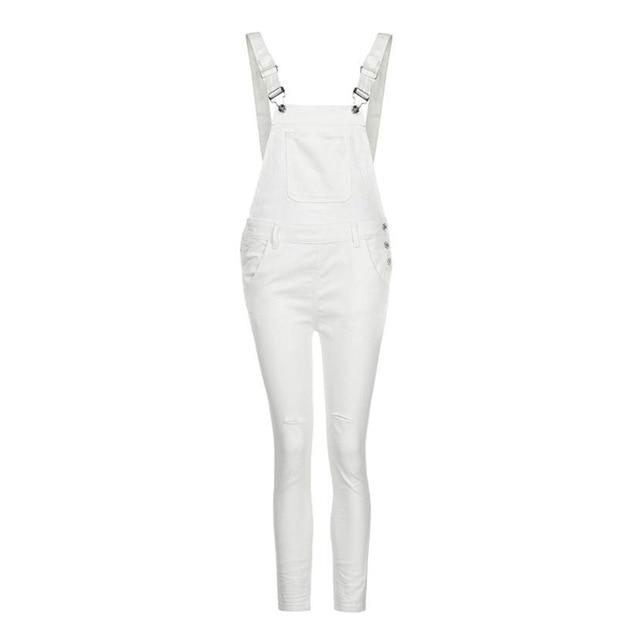 Spring Overalls plus size Women Loose Denim Bib Hole Pants Overalls Jeans Demin Trousers Jumpsuit White jeans for women