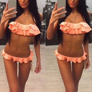 Popular Women Push-Up Padded Bra Beach Bikini Set Swimsuit Sexy Fold Edge Swimwear Push Up Swim Wear Sex Appeal Swimming Suit