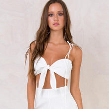 Load image into Gallery viewer, Bowknt Camisole Women Black White Cropped Top Tumblr Summer Bow Lace Up Vest Camisole Female Strappy Bustier Tie Short Top Camis