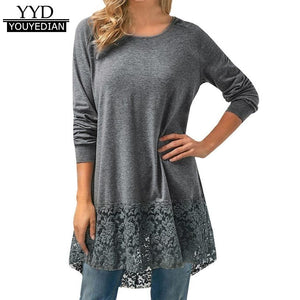 Casual Loose T-shirts Women New Arrival 2018 Long Sleeve Lace Tshirts Trim Hem High Low Loose Tunic Tops Ladies Ropa Mujer *207