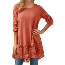 Load image into Gallery viewer, Casual Loose T-shirts Women New Arrival 2018 Long Sleeve Lace Tshirts Trim Hem High Low Loose Tunic Tops Ladies Ropa Mujer *207