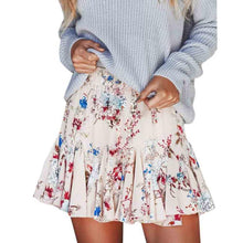 Load image into Gallery viewer, Summer Womens Boho Midi Skirts Floral Print Ruffle A Line High Waist Mini Skirt Ladies Bohemian Short Pleated Skater Skirt Saias