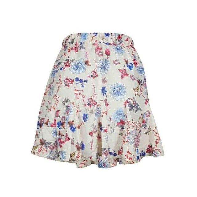 Summer Womens Boho Midi Skirts Floral Print Ruffle A Line High Waist Mini Skirt Ladies Bohemian Short Pleated Skater Skirt Saias