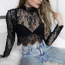 Load image into Gallery viewer, Fashion T Shirt Women Sexy Transparent Temptation Club  wear female clothes T-Shirt summer crop top lace up