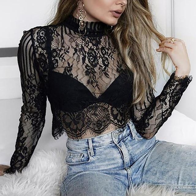 Fashion T Shirt Women Sexy Transparent Temptation Club  wear female clothes T-Shirt summer crop top lace up
