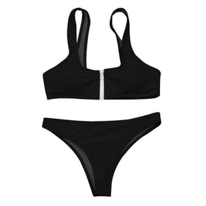 Womail Swimwear Women 2018 Sexy Brazilian Bikini Set Solid Swimsuit zipper Push Up Padded Bra Swiming suit maio feminino praia