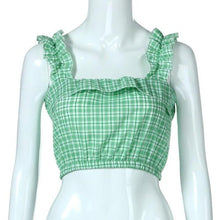 Load image into Gallery viewer, Feitong Fashion Vintage Women Crop Tops Vest Ruffles Halter Plaid Printed Halter Tank Tops Blouse camisole regata feminina 2018