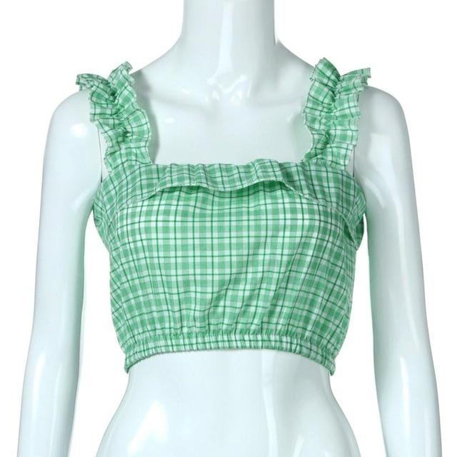 Feitong Fashion Vintage Women Crop Tops Vest Ruffles Halter Plaid Printed Halter Tank Tops Blouse camisole regata feminina 2018