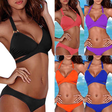 Load image into Gallery viewer, Womail 2018 Swimwear Women Sexy Solid Halter Bikini Set Black Blue Swimsuit Push-Up Padded Bathing Swiming Suit May Beach Wear