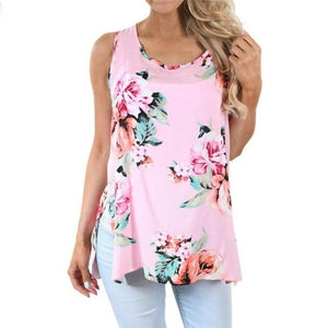 Feitong new Women Casual Sleeveless Floral Top Vest Tank Shirt fashion Cami Top cotton hot sale Plus Size 2018 tank tops