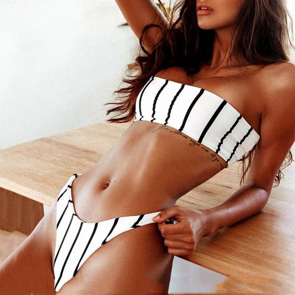 Women Sexy Bandeau Bikini Set Push-Up Padded Bow Swimwear Black And White Stripe Printed Wrapped Chest Swimsuit Bathing Suits