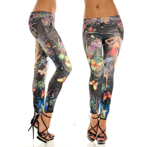 Women's jeans seamless imitation jeans painted print leggings Sexy Womens Skinny Blue Denim Leggings Stretchy Jeggings