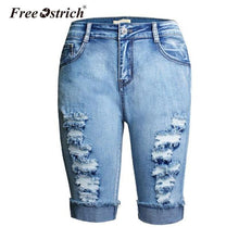Load image into Gallery viewer, FREE OSTRICH 2018 Ripped Jeans For Women Knee Length Shorts High Waist Jeans Pants Trousers Mujer Casual Denim Ripped Jeans Oct9