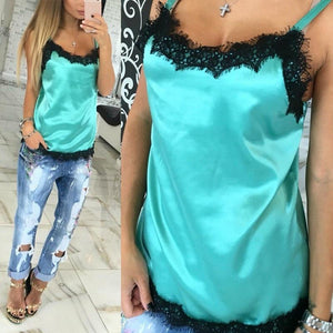 Women Girls Fashion Sexy Women Camisoles Summer Casual Lace Patchwork Vest Tops Sleeveless Tank Tops Camis Lace T-Shirt