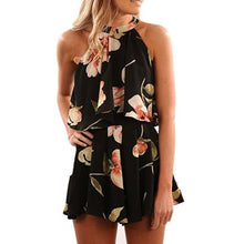 Load image into Gallery viewer, 2 Piece Set Women Halter Floral Printing Summer Beach Vest Shirt Tops Shorts Set Ensemble Femme 2 Piece Outfits For Women