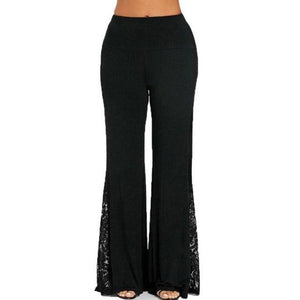 Feitong 2018 Fashion Women's High Waist Long Pants Lace Insert Wide Leg Pants Femme Casual Summer Loose Trousers S-XXL