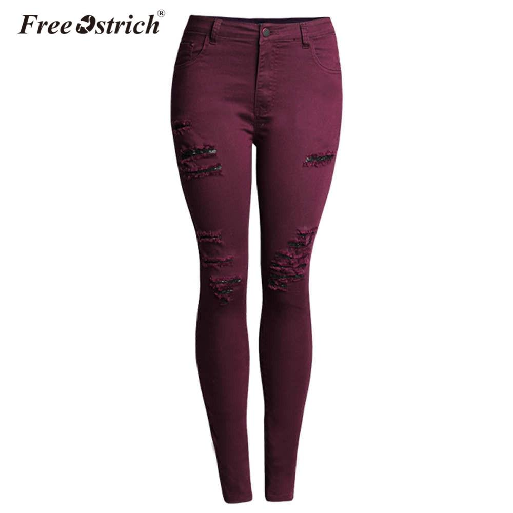 Free Ostrich 2018 Women Plus Size Clothing High Waist Tight Elastic Cotton Jeans Female Fashion Hole Denim Pencil pants Oct1830