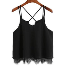 Load image into Gallery viewer, FEITONG Woman Summer Tops 2017 Chiffon White Camis Lace Vest Top Sleeveless Casual ladies crop tops Tank T-Shirt short feminino