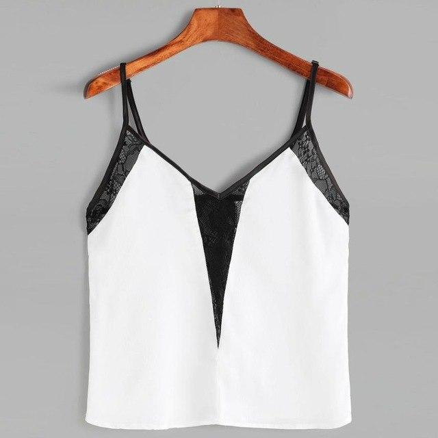 Black and white  Lace Sling VestWomen Casual Sleeveless Lace Vest Tank Shirt  Cami #4