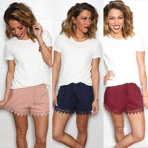 Feitong Women Summer Pure Lace Spliced Short Pants Casual/Fashion Fitness chiffon Shorts hot sale Loose for girls Mid Waist