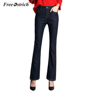 Free Ostrich Jeans Women 2018 High Waist Demin Long Pants  Solid Wide-leg Denim Pants Female Trousers L0935