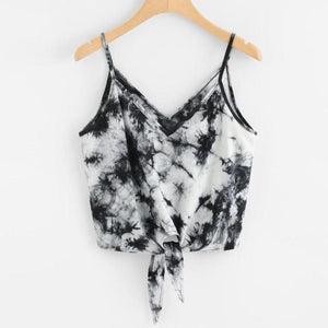Women Sexy V-Neck Strap Camis Vest Crop Top Fashion Summer Leisure Sleeveless Beach Bowknot Print Blousa Shirt Tank Tops Clothes