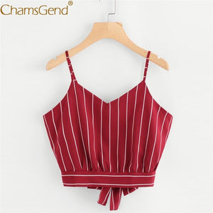Chamgend Women V Neck Striped Cropped Tops Summer Strap Sleeveless Shirt Woman Red Bralette Tie Camis 80403
