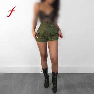 Feitong Sexy high waist pockets mini cargo shorts Women summer army green silk short pants