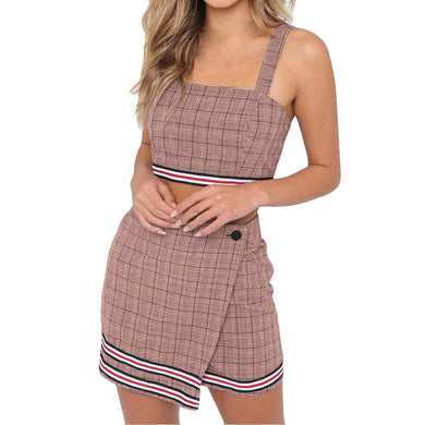 2 Piece Set Women Sexy Crop Top And Skirts Two Piece Outfits Women For Summer 2018 Plaid Striped Badycon Skirts Set