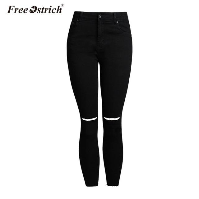 Free Ostrich Design Fashion High Waist Skinny Jeans Femme Stretchy Black Pants Denim Fringe Tassel Ripped Jeans For Women