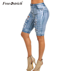 Free Ostrich Denim Knee length Jeans 2018 Women Clothing Elastic Skinny Washed Cuffs Cotton Female Fashion Hole Tight Mid Waist
