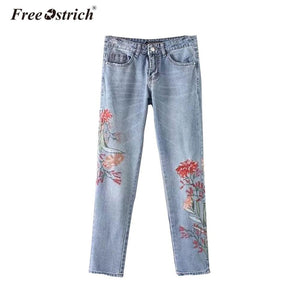 Free Ostrich Stretch Embroidered Jeans For Women 2018 Elastic Flower Jeans Female Pencil Denim Pants Rose Pattern Pantalon Femme