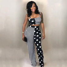 Load image into Gallery viewer, 2 Piece Set Clubwear Striped Dot Patchwork Women Strapless Tank Short Top Drop And WideLong Pants