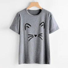 Load image into Gallery viewer, 2018 Hot Sale Women's Fashion Summer Cat Printing Polyester Daily Cute O-Neck Loose Tops Short-Sleeved T Shirt 30 Apr4