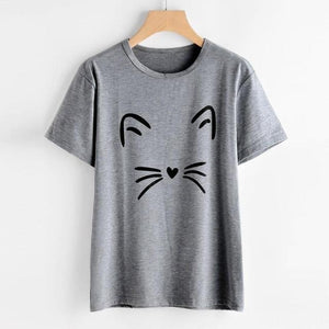2018 Hot Sale Women's Fashion Summer Cat Printing Polyester Daily Cute O-Neck Loose Tops Short-Sleeved T Shirt 30 Apr4