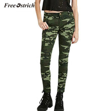 Load image into Gallery viewer, Free Ostrich Jeans For Women 2018 S-XXXXXL Plus Size Chic Camo Army Green Skinny Femme Camouflage Cropped Pencil Pants
