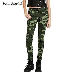 Free Ostrich Jeans For Women 2018 S-XXXXXL Plus Size Chic Camo Army Green Skinny Femme Camouflage Cropped Pencil Pants