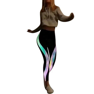 Women Ladies Neon Rainbow Leggings Fitness Sports Gym Athletic Pants Casual S,M,L,XL Drop shipping #SS