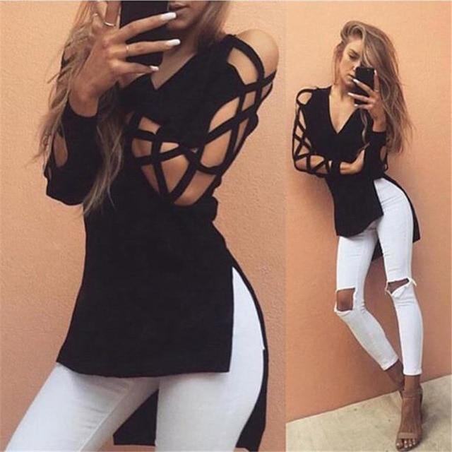 KANCOOLD tops high quality Cotton Fashion girl Casual Club Sexy Hollow Sleeve t-Shirt summer tops for women 2018 ap27