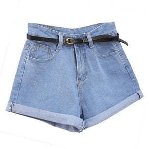 Retro High Waisted Denim Shorts For Women Rolled Denim Jeans Shorts With Pockets Summer Loose Slim Shorts Excluding belts W6