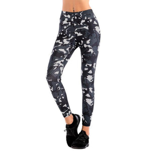 Women Super Elastic High Waist Leggings Fashion Print Slim Pants for Fitness Workout Ankle-Length Camouflage Pants T6