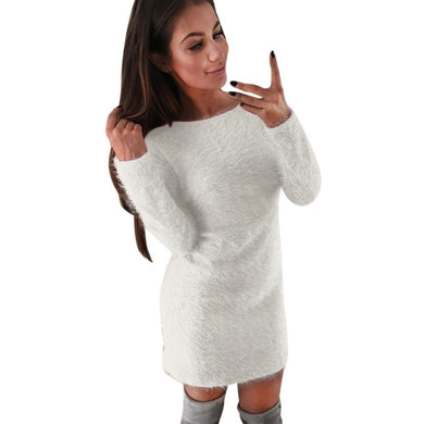 Winter Women Casual Solid Fleece Warm Mini Dresses Autumn Ladies Long Sleeve Simple Design Sexy Hip Package Party Dress #YL