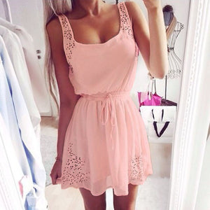 Feitong 2018 Women Casual Pink Chiffon Dress Summer Sexy Ladies Sleeveless Hollow-out Mini Beach Party Dresses Vestidos #Zer