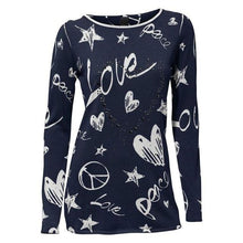 Load image into Gallery viewer, Vintage Printing T-Shirt Women's Autumn Vogue Love Heart Pattern Casual Cotton Blend Tops Ladies Winter Bottom Shirts #YL