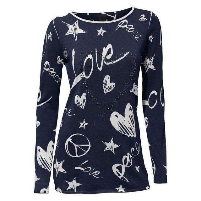 Vintage Printing T-Shirt Women's Autumn Vogue Love Heart Pattern Casual Cotton Blend Tops Ladies Winter Bottom Shirts #YL