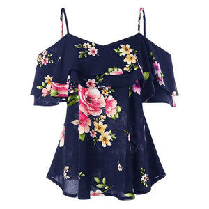 Feitong Summer Women T-Shirt Floral Printing Off Shoulder Shirt Sleeveless Sexy Ruffle Top Spaghetti Strap  Loose Casual T-shirt