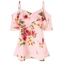 Load image into Gallery viewer, Feitong Summer Women T-Shirt Floral Printing Off Shoulder Shirt Sleeveless Sexy Ruffle Top Spaghetti Strap  Loose Casual T-shirt