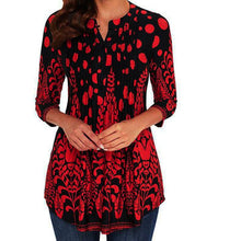 Load image into Gallery viewer, Women Three Quarter Sleeved Circular Neck Printed Tops Loose T-Shirt Womens Printed Round Neck Long Sleeve Top T-Shirt for women