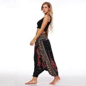Women Causal Summer Autumn Flower Print Baggy Boho Pants Elastic Pants Loose Trousers Aladdin Wide Fitness Leg Long Harem Pants#